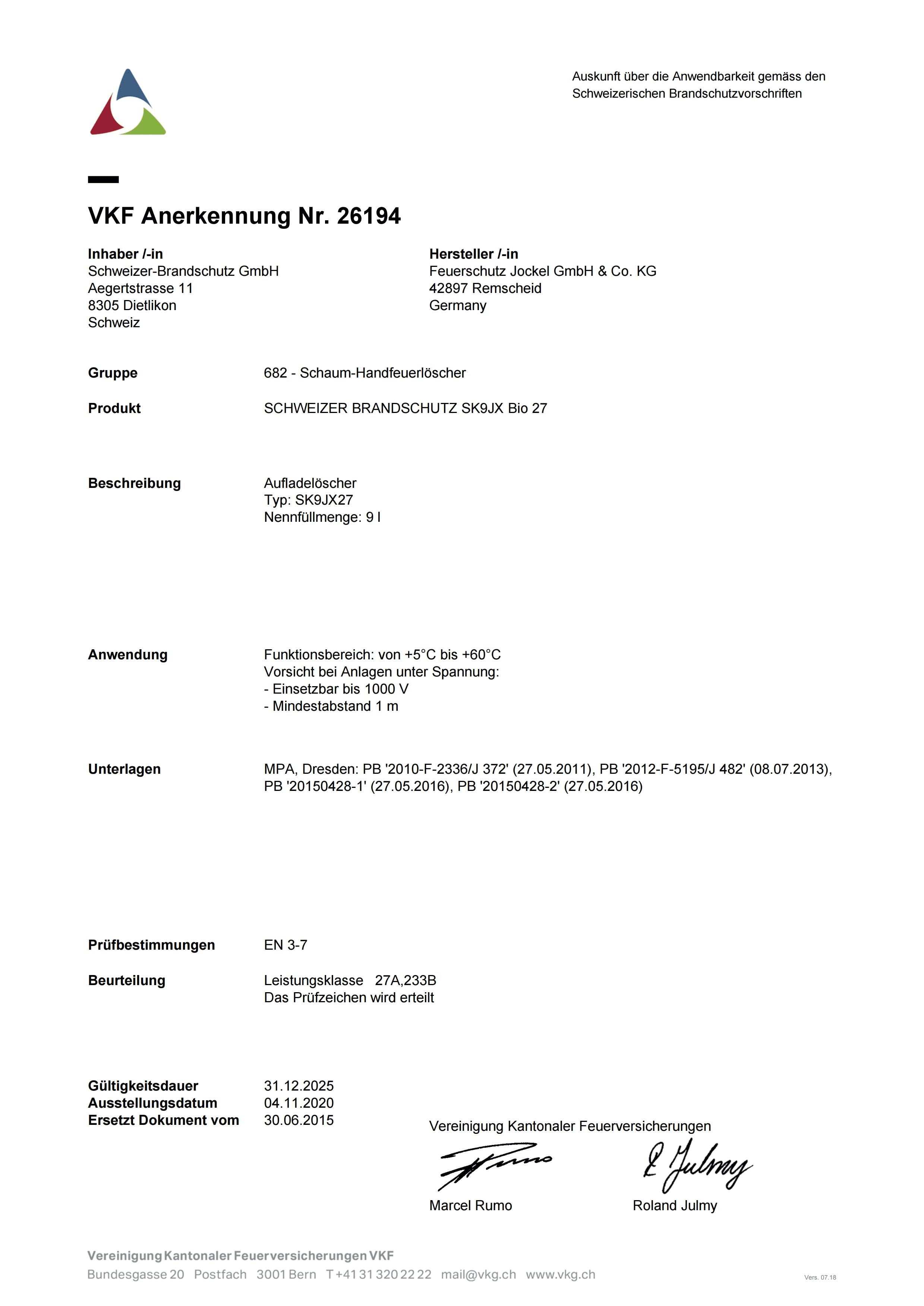 VKF Zulassung Schaum Feuerlöscher 9 Liter