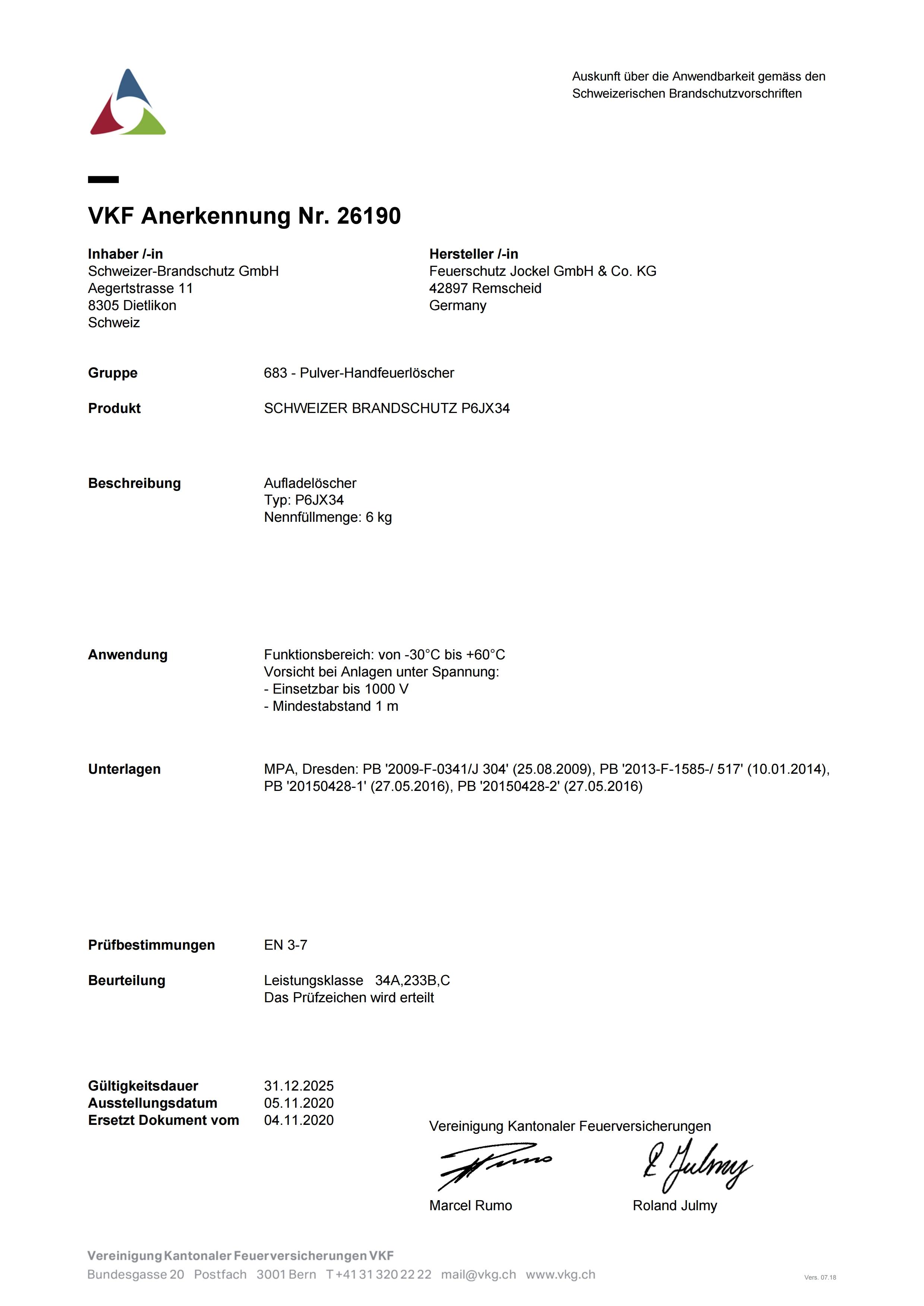 VKF Zulassung Pulver Feuerlöscher 6 Kilo