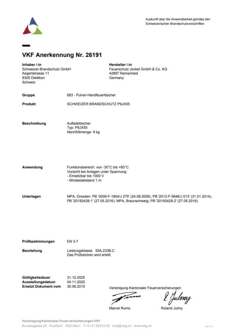VKF Zulassung Gewerbe Pulver Feuerlöscher 9 Kilo P9JX55