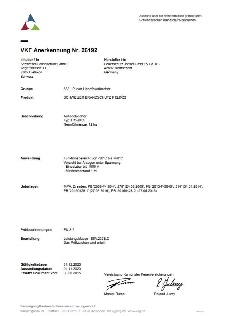 VKF Zulassung LKW Pulver Feuerlöscher P12JX55