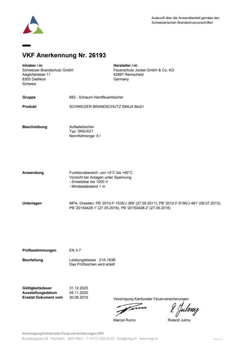 VKF Zulassung Schaum Feuerlöscher 6 Liter SK6JX21