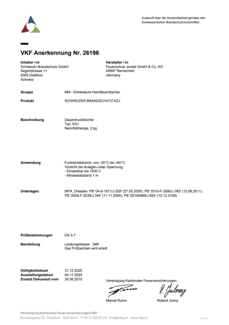 VKF Zulassung Gewerbe Feuerlöscher 2 Kilo