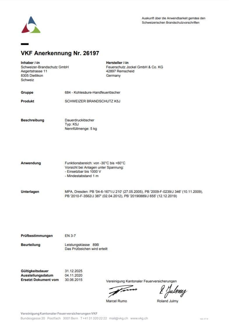 VKF Zulassung Büro Feuerlöscher 5 Kilo
