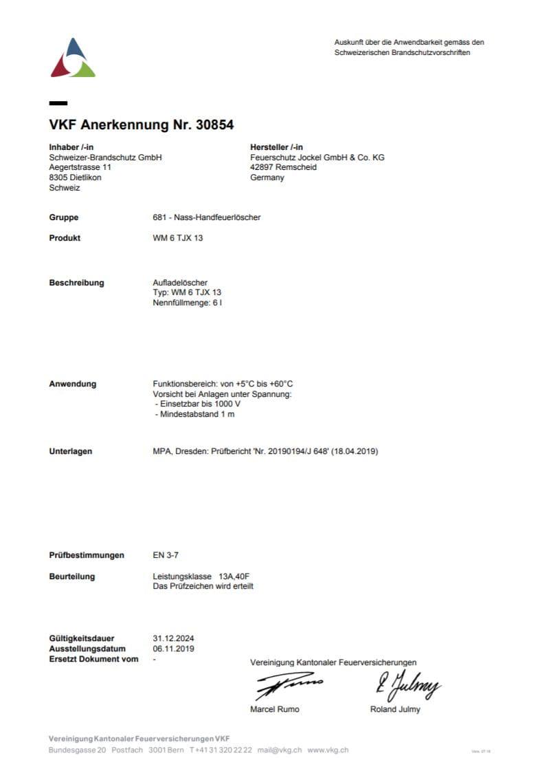 VKF Zulassung Gewerbe Wassernebel Feuerlöscher 6 Liter