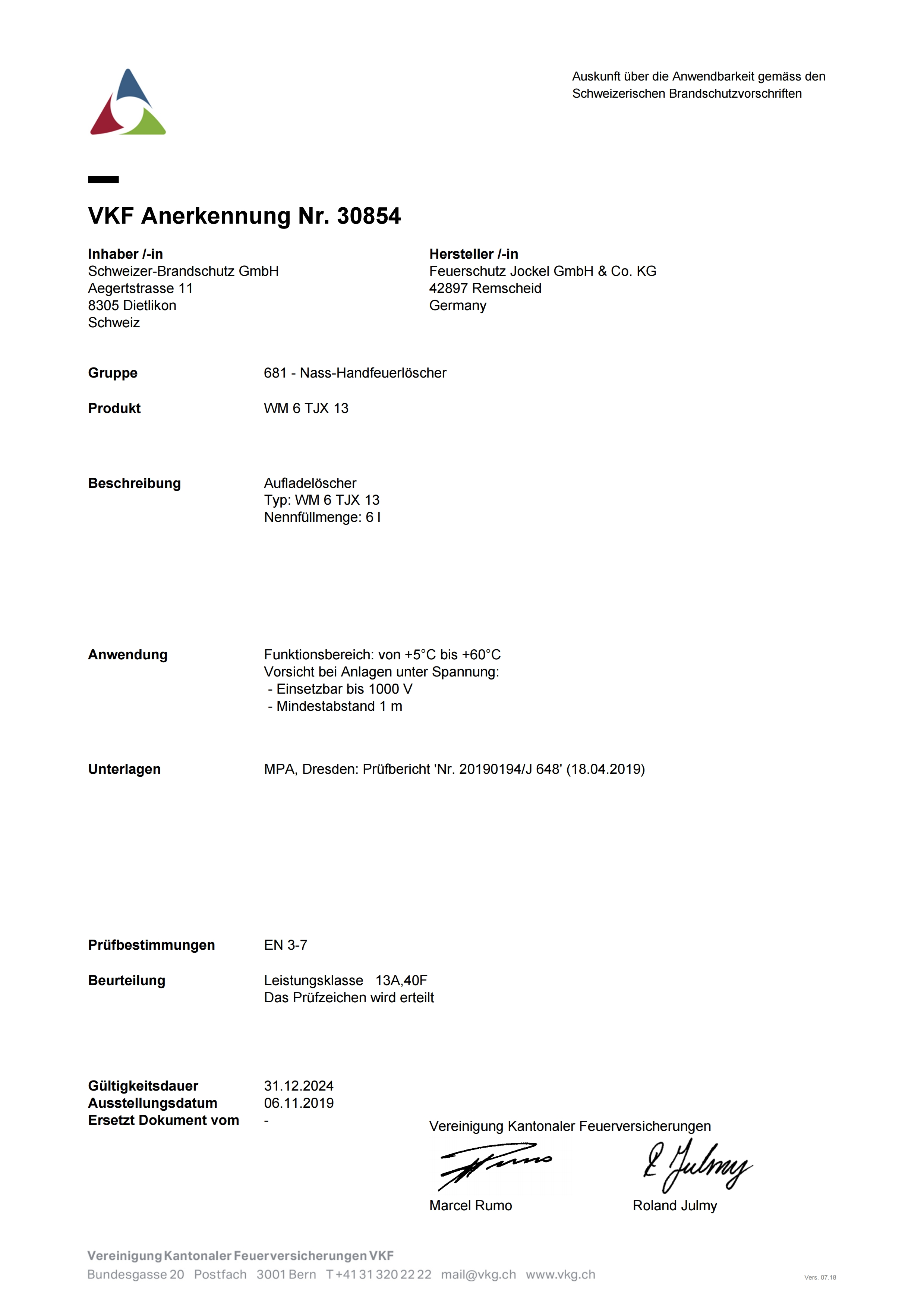 VKF Zulassung Schaum Feuerlöscher 6 Liter