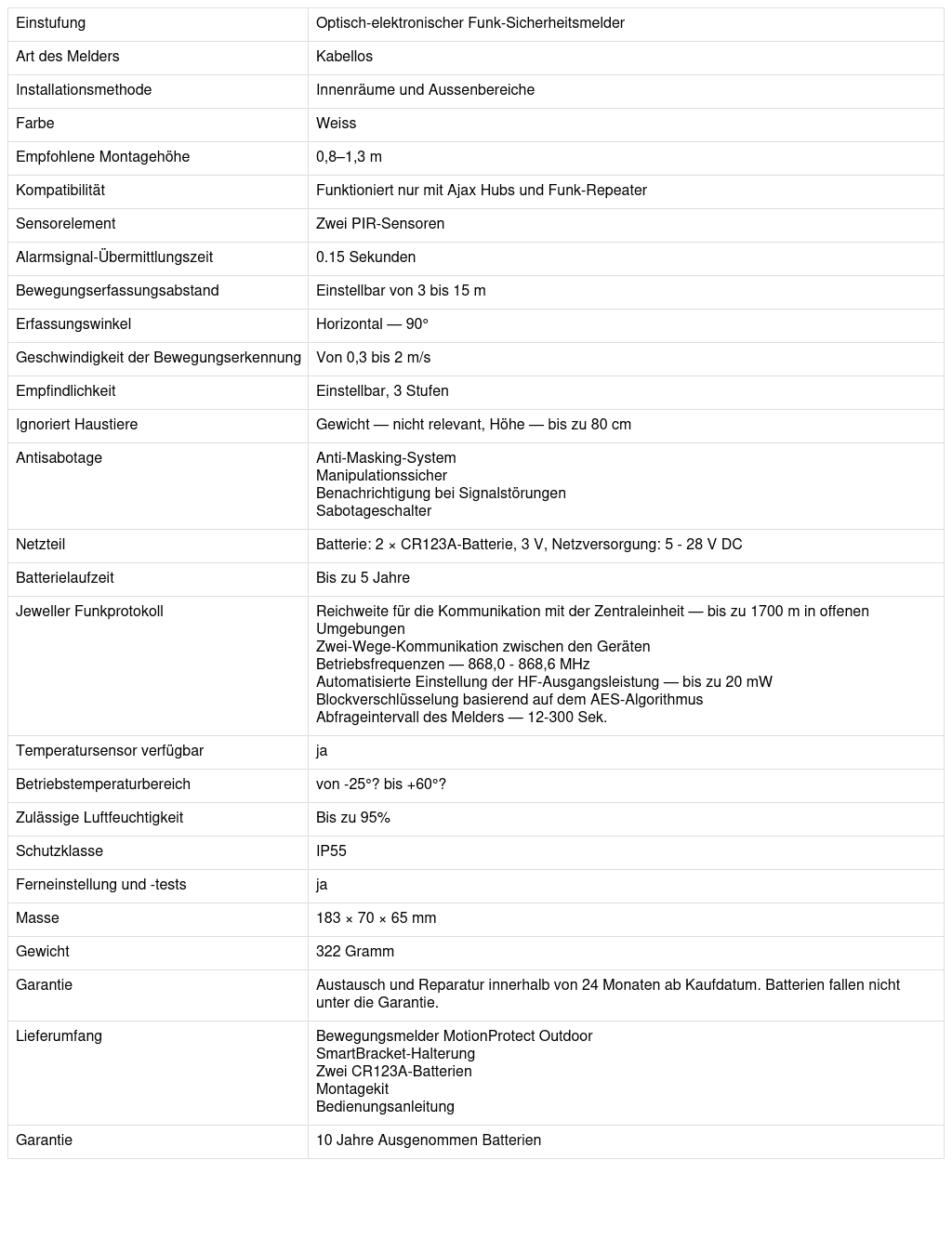 Datenblatt Ajax Aussenbewegungsmelder