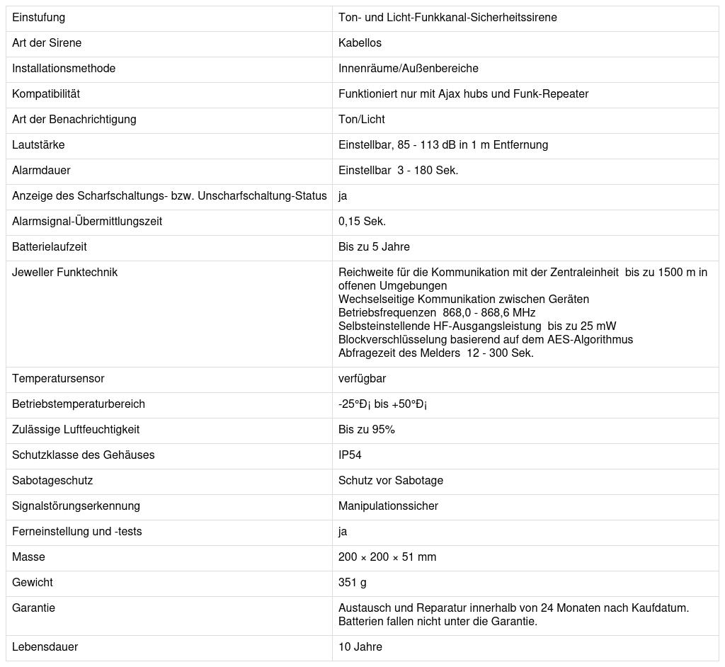 Datenblatt Ajax Aussensirene