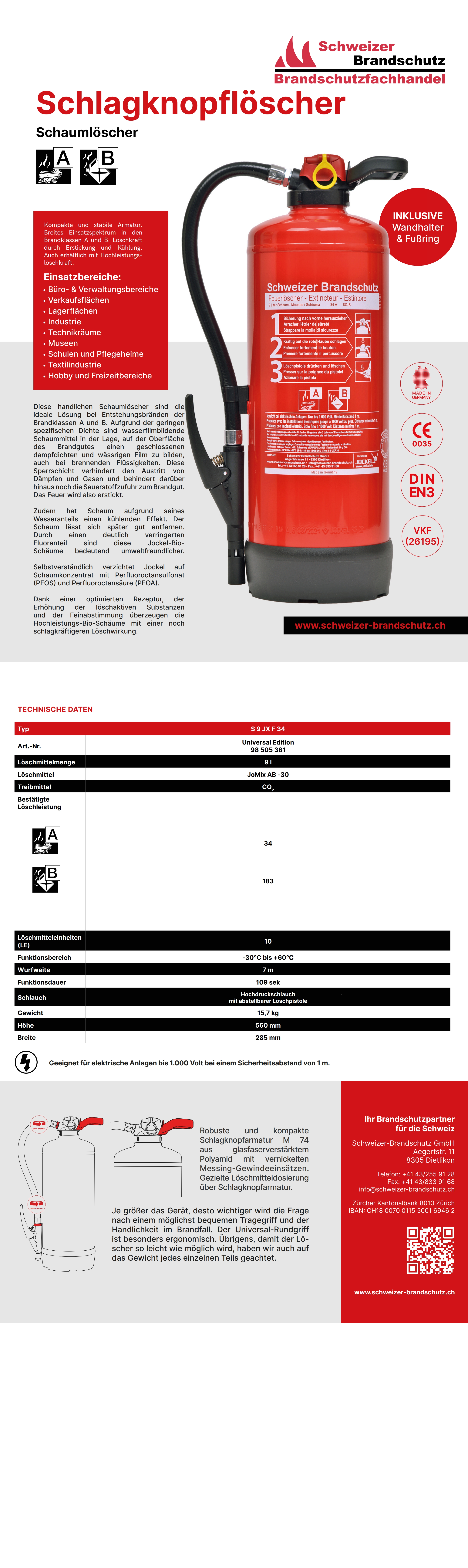 Datenblatt Schaum Feuerlöscher 9 Liter Frostsicher