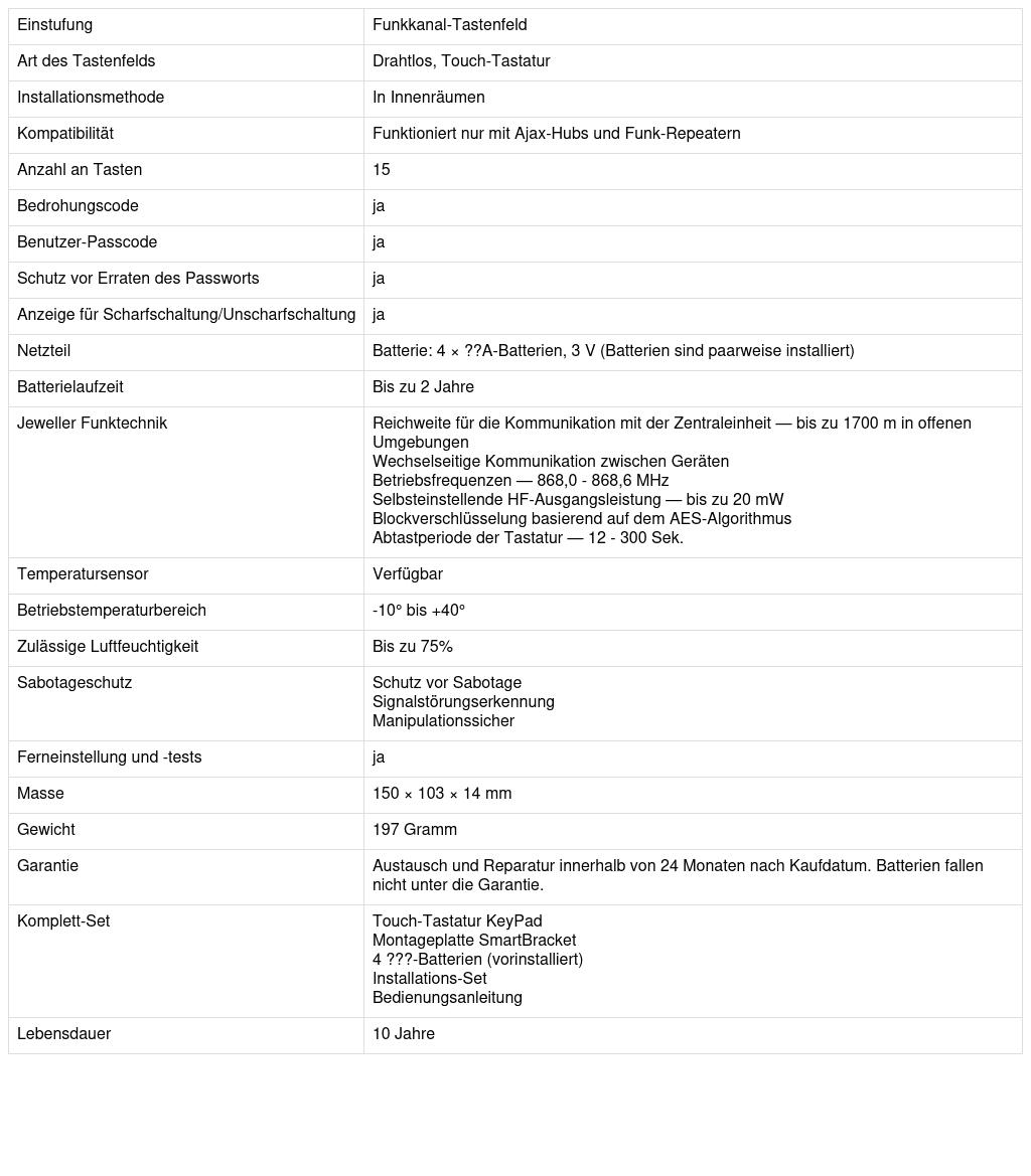 Datenblatt Ajax KeyPad